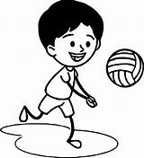 Coloring Volleyball Boy Playing Boys Awesome Wecoloringpage sketch template