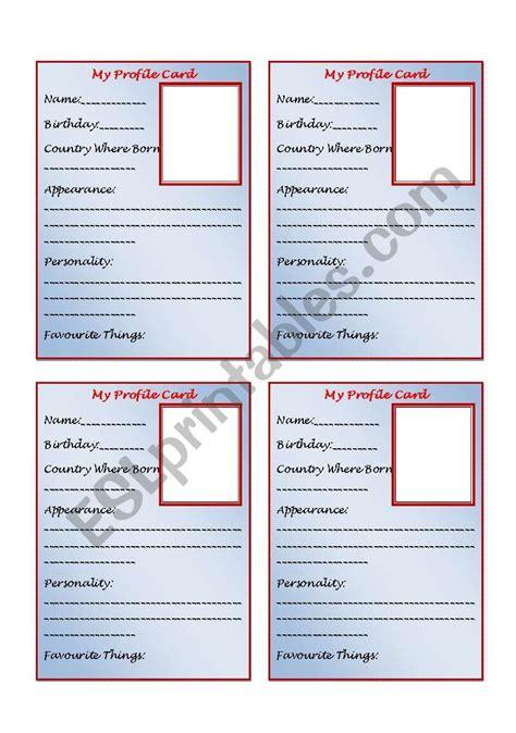 personal profile card template esl worksheet  sirgary