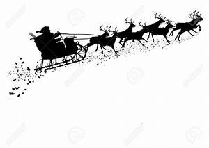 Santa Claus With Reindeer Sleigh - Black Silhouette ...
