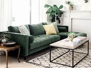 inspirations pour un canape en velours joli place With couleur tendance pour salon 18 inspirations deco en vert fonce joli place