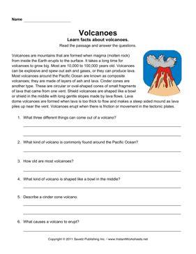 comprehension worksheets about volcanoes volcano comprehension