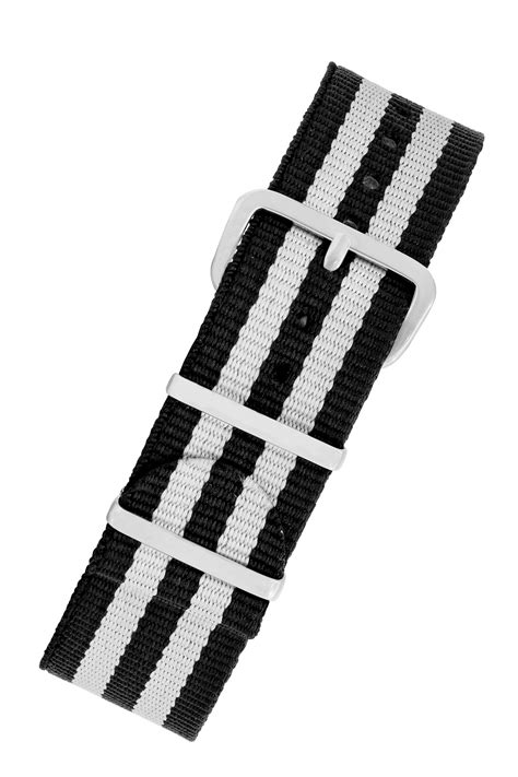 NATO Watch Straps in BLACK with WHITE Stripes | WatchObsession