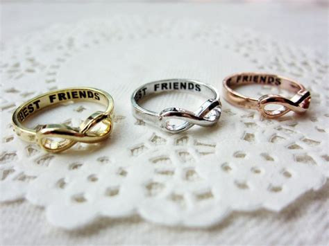 Friendship Rings For 3 Best Friends Lettered Infinity Ring 3 Color By Semostories