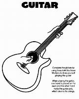 Guitar Coloring Pages Drawing Crayola Playing Popular sketch template
