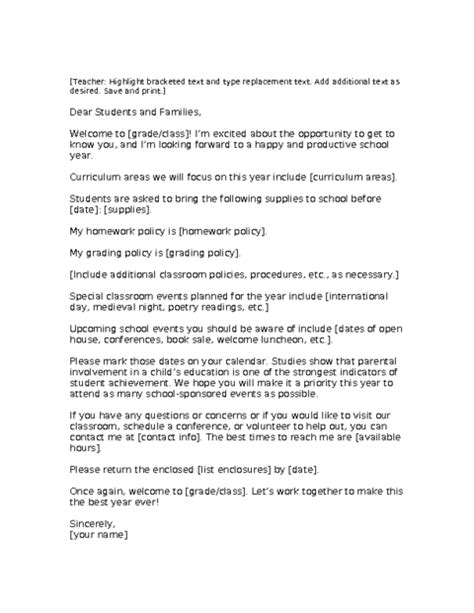 Welcome Letter Template   Education World