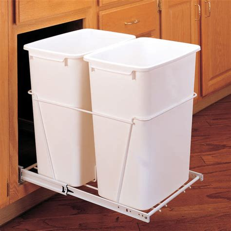 double garbage can cabinet rev a shelf double pull out waste containers 2 x 27