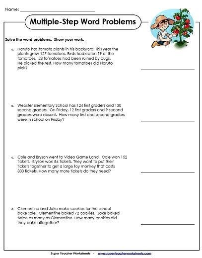 step word problems  grade worksheets worksheets master