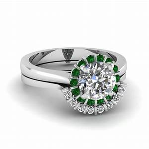 floating floral halo diamond wedding ring set with emerald With floral wedding ring set