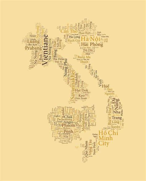 southeast asia typography map art print cambodia laos