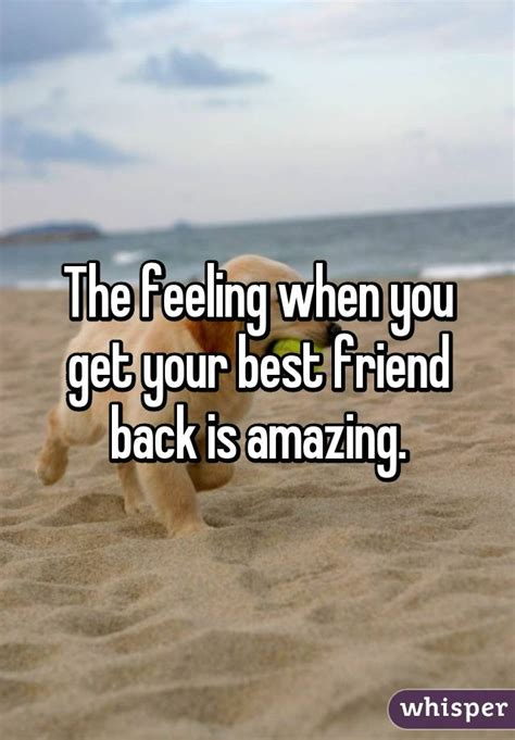 The Feeling When You Get Your Best Friend Back Is Amazing
