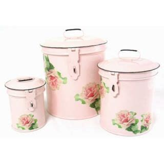 shabby chic canister sets shabby chic craft rooms canister set shabby chic pink enamel with shabby antique rose jpg