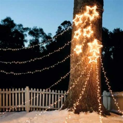 cool ideas  decorate garden  yard trees  christmas
