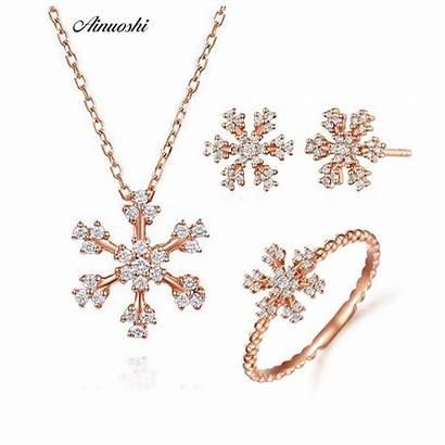 Diamond Solid Snowflake Rings 18k Rose Scent