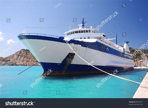 Ferry Boat Zakyntos by Ferry Boat Harbor Town Zakynthos Stock Photo
