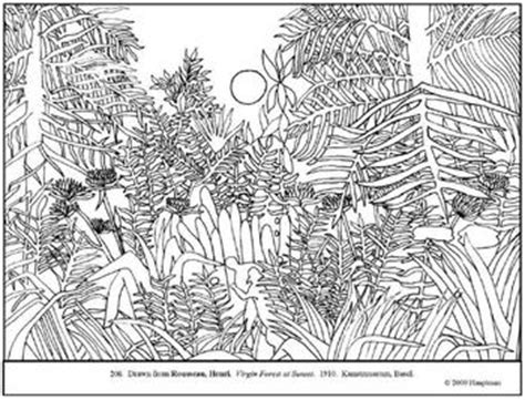 rousseau virgin forest  sunset coloring page lesson