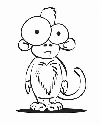 Monkey Coloring Crazy Pages Cartoon Drawing Tattoo