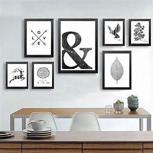 Abstract Symbol Canvas Painting Black White Wall Art