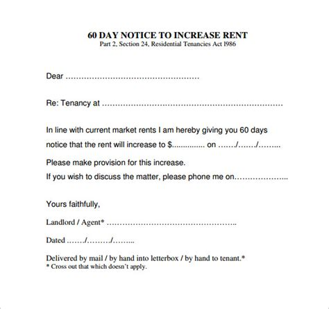 30 day notice of rent increase form 11 rent increase notice templates to download for free