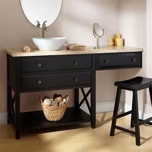 Bathroom Dark Brown Wooden Bathroom Vanity With Makeup