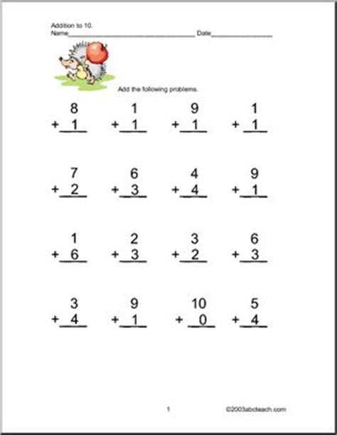 addition up to 10 worksheets abcteach
