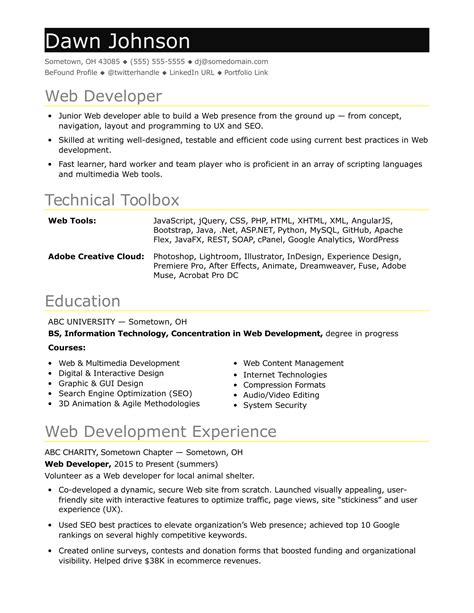sle resume for an entry level it developer