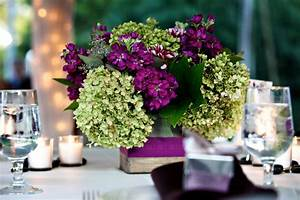 floral purple and green wedding centerpiece ...