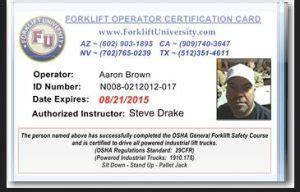 Scissor Lift Certification Card Template by Certification Photo Wallet Cards Certified Forklift