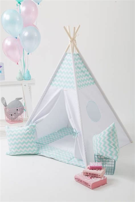 Tipi Zelt Kinderzimmer Etsy by Teepee Set With Poles And Mat Mint Chevron