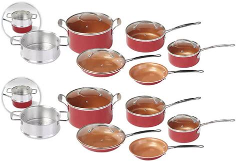 red copper  pc cookware set    shipping