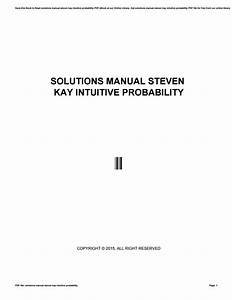 Solutions Manual Steven Kay Intuitive Probability By