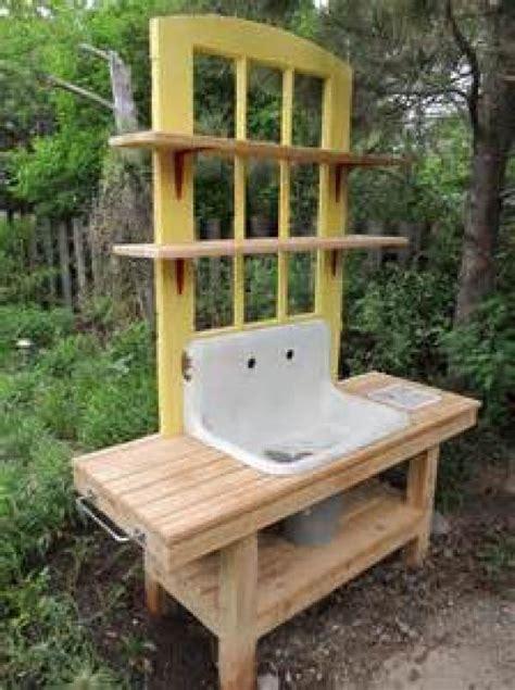 diy rustic potting bench easy diy  crafts