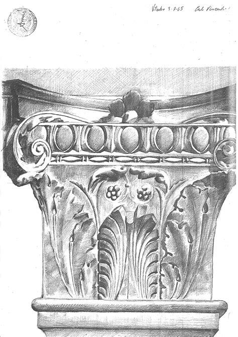 'Capitello', pencil drawing by Carlo Vincenti, 1965 | Drawing