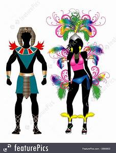 Illustration Of Carnival Silhouette Colorful Couple