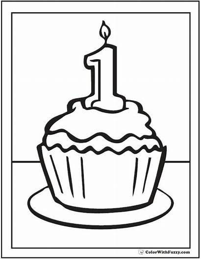 Coloring Cupcake Pages Birthday 1st Happy Cupcakes
