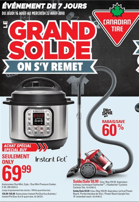 canadian tire pot instant pressure cooker qt duo only