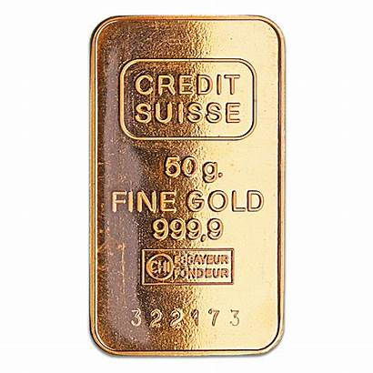 Gold Bar Suisse Credit 50g Condition Circulated