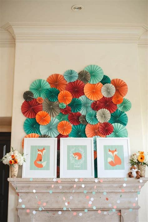 shower fox themed fall decorations backdrop themes woodland babyparty raposinha deko theme paper boy whimsical fan raposa birthday babyshower parties