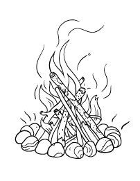 Campfire Pictures to Color | how to draw a campfire step 6