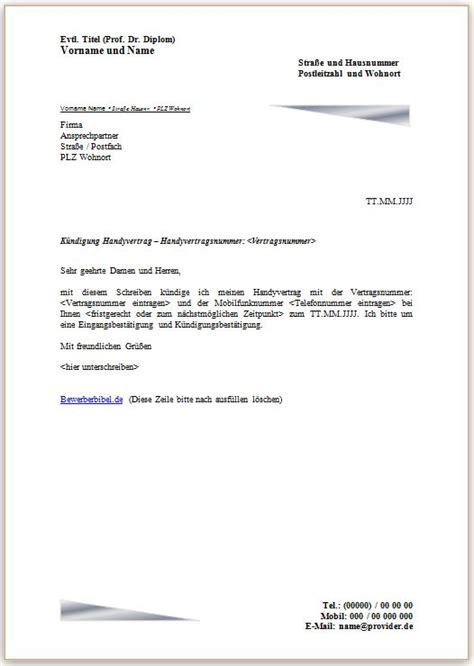 kündigung einer mietwohnung k 252 ndigungsschreiben handyvertrag mobilfunkvertrag vorlage muster beispiel