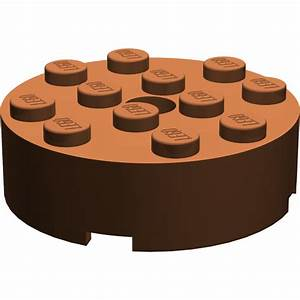 LEGO Reddish Brown Brick 4 x 4 Round with Pinhole and ...