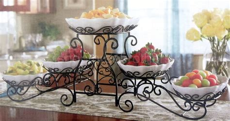 tier buffet server  stoneware serving dishes wrought iron stand catering ebay