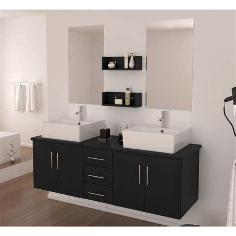 salle de bain compl 232 te vasque 150 cm laqu 233 noir brillant achat vente salle de