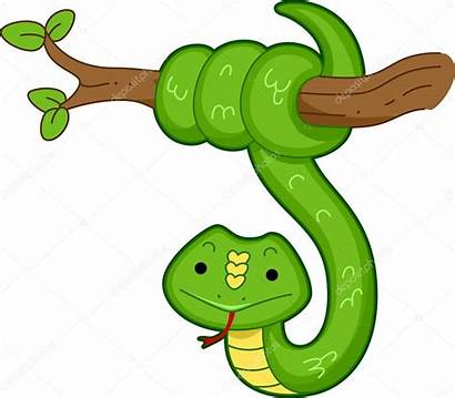 Snake Clipart Tree Cartoon Schlange Python Animated