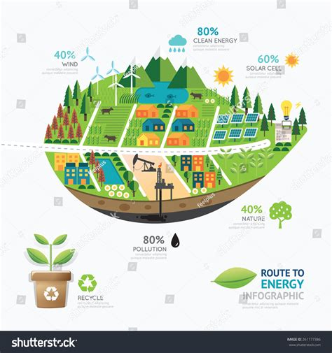 forms of clean energy infographic energy leaf shape template designroute stock
