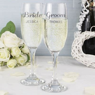 personalised champagne flutes classic design  kitchen