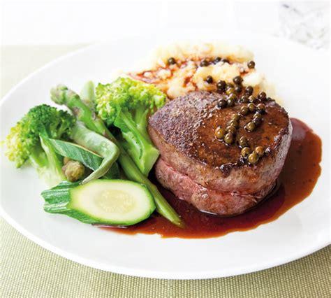 steak  green peppercorn sauce annabel langbein recipes