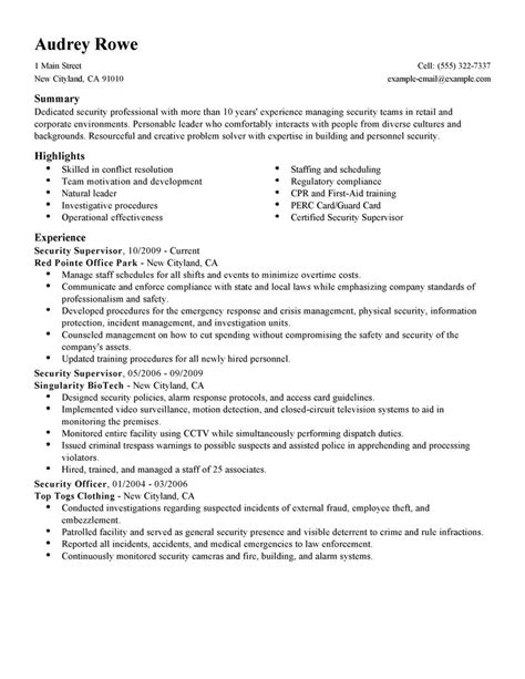 supervisory transportation security officer resume security supervisor resume exles enforcement security resume sles livecareer
