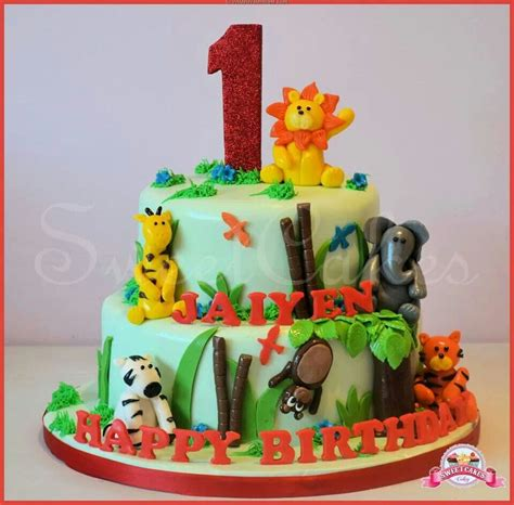 tier jungle themed  birthday cake jasons birthday