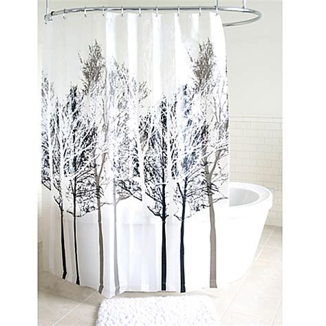 gray curtains bed bath and beyond forest peva shower curtain in grey bed bath beyond