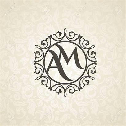 Monogram Template Emblem Floral Frame Seamless Beige